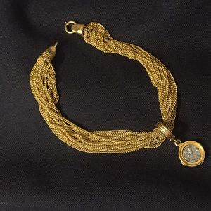 Carolee designer gold plated necklace with coin